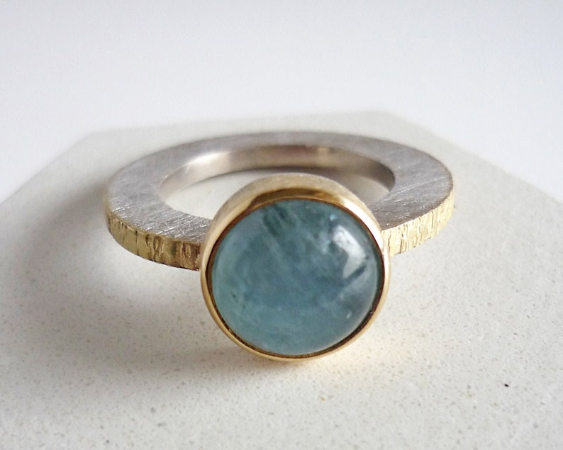 Natural aquamarine ring for women gold silver ring and round image 1