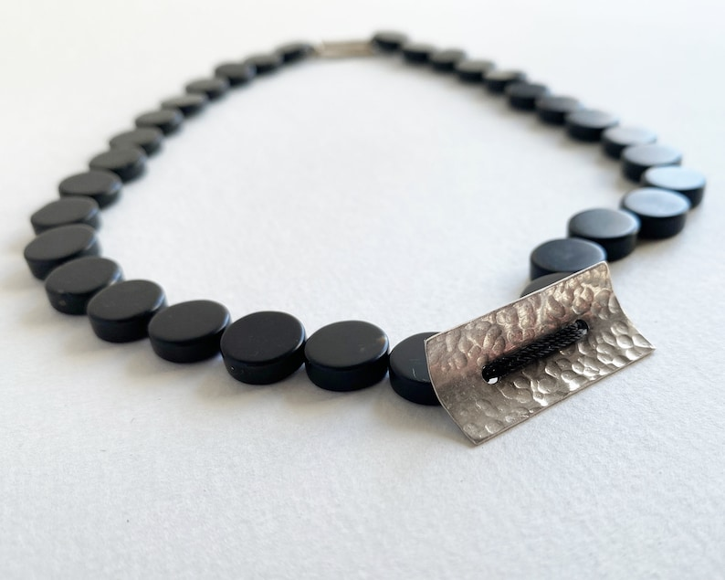 Black stone and silver choker necklace coin shaped beads image 0