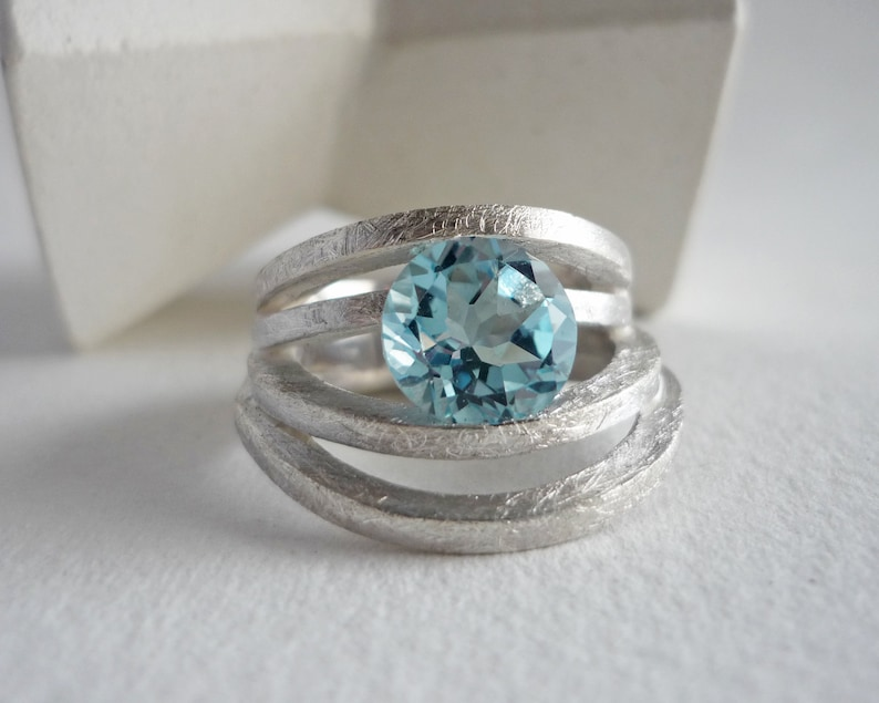 Natural topaz ring for women sculptural silver ring and round image 0