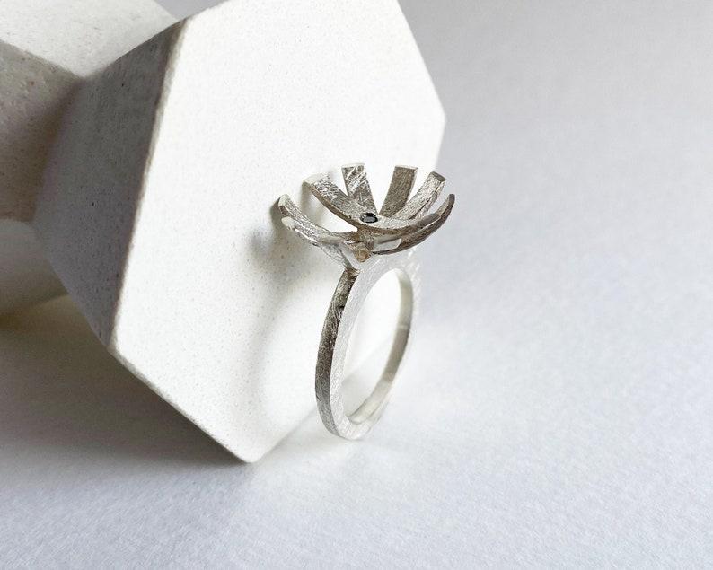 Black diamond sun ring sculptural silver ring for women art image 0