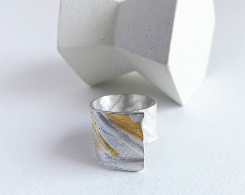 Sterling silver with 24K gold Keum boo ring ring with palm image 0
