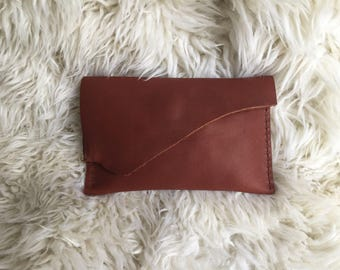 Russet leather clutch- 1788