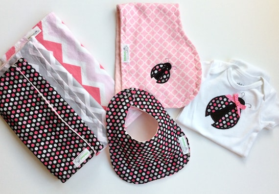 Bib Burp Cloth Set Personalized Handmade Pink Black Girl Ladybug Burp Cloths