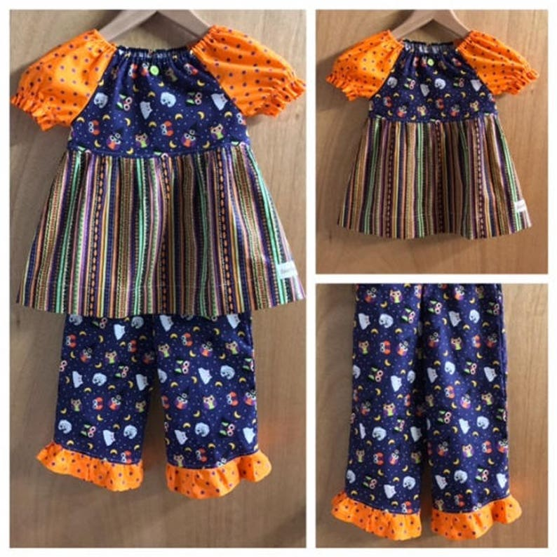 Halloween Peasant Top and  Ruffle Pants size 4t