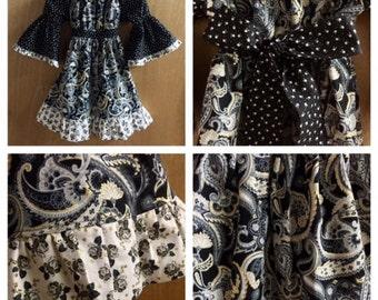 Boho Fall/Winter Peasant Dress, girls size 7