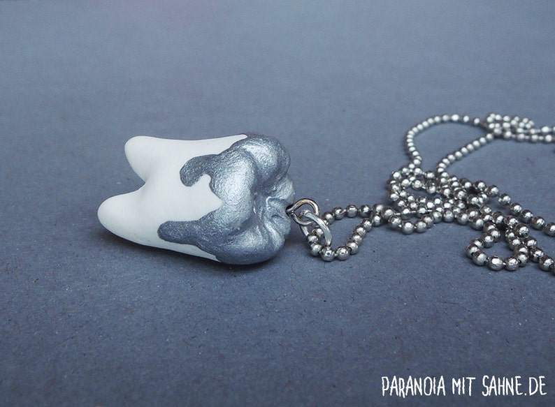Human Wisdom Tooth with Liquid Silver  Necklace image 0