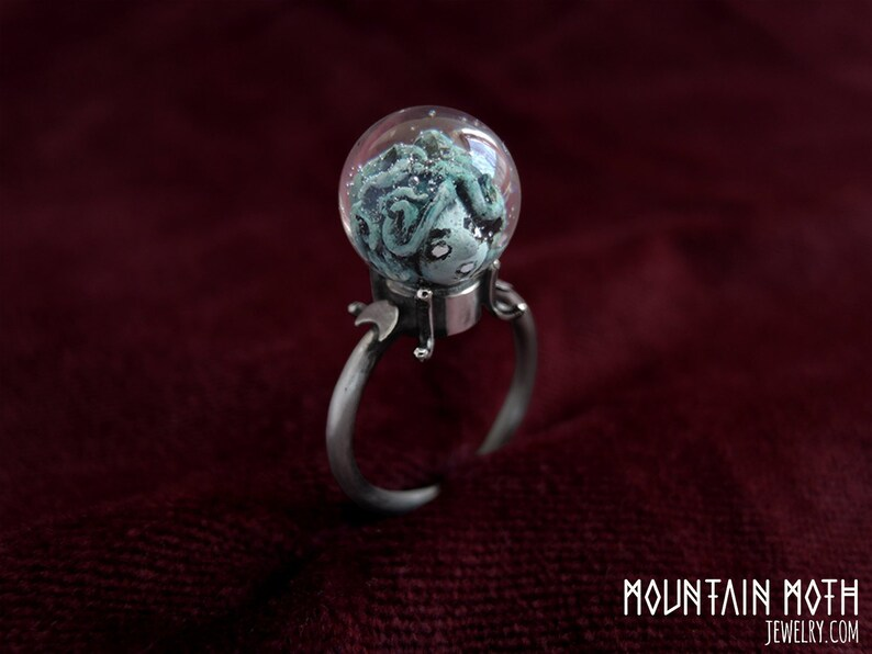 Madame Leota Inspired Crystal Ball Haunted Silver Ring image 0