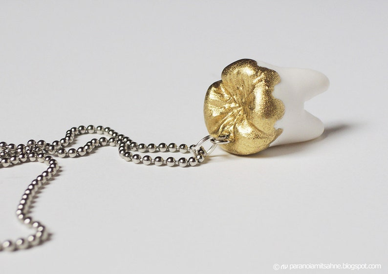 Human Tooth with Liquid Gold  Necklace image 0