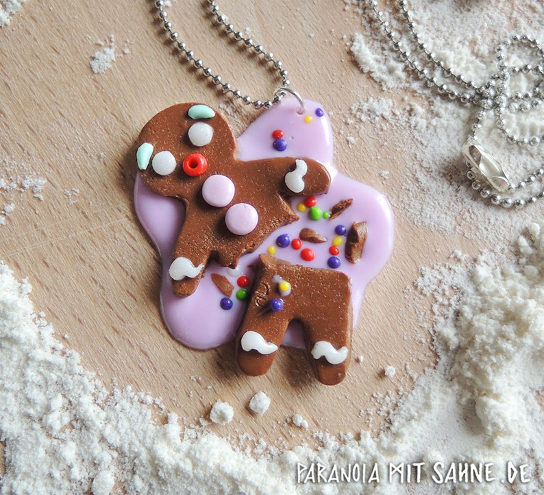 Crumbled Gingerbread Man with Icing and Sprinkles Necklace image 0