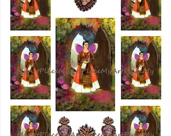 Frida Kahlo Collage Sheet, Frida Clip Art, Frida Art, Digital Collage Frida, Digital Download Frida, Frida Shrine, Mexican Art, Scrapbooking