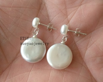 White Coin Freshwater Pearl Earrings 13-14mm by Pearl Island