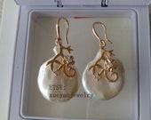 Large pearl earrings, 20 25 mm white Baroque pearl dangle earrings