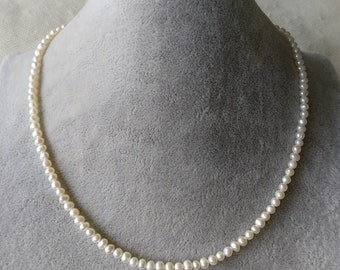 41cd6f47bf8fb6 pearl necklace, cultured 3-4 mm white freshwater pearl necklace 14-25  inches, choker necklace 925 silver clasp