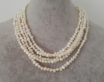 pearl necklace, Baroque pearl necklace, cultured 4-5 mm white  freshwater pearl long necklace