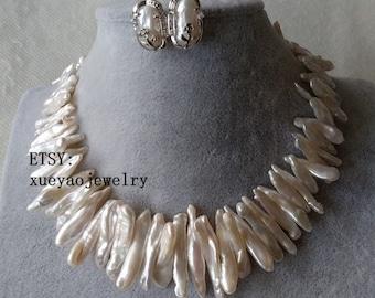 Pearl Set - big white biwa pearl necklace & earrings  set, 20-38mm