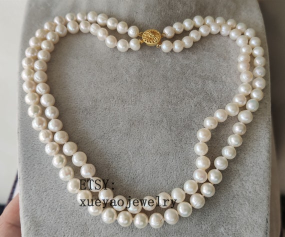 double rows  8-8.5 mm white freshwater pearl necklace /& earrings set