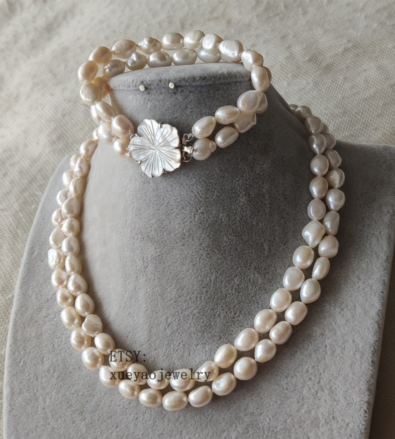 double rows 9-10mm white baroque freshwater pearl necklace /& bracelet shell flower clasp pearl set