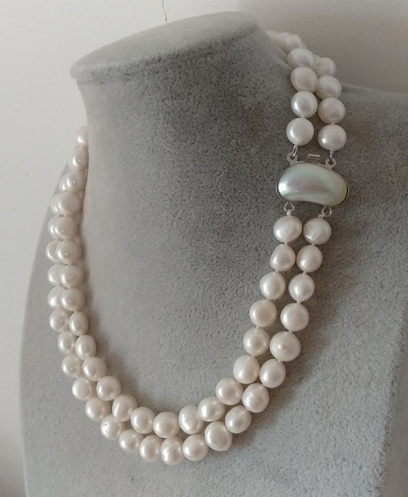 necklace pendant watch cultured 10-11mm gray black Baroque rice fresh water pearl necklace magnet clasp