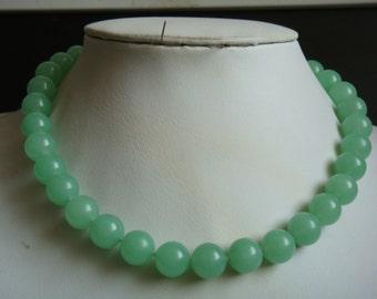 JADE NECKLACE- 10mm light green jade bead necklace / bracelet