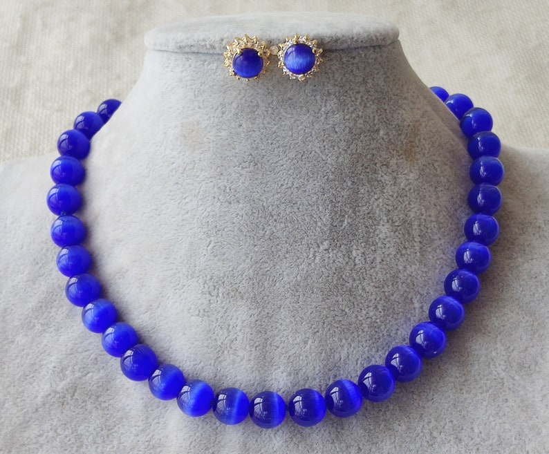 jewelry set 10 mm blue opal analogues necklace /& earrings set
