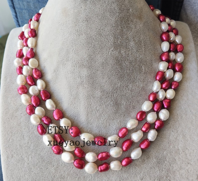 Baroque Pearl Necklace 3 rows 8-9 mm white /& red  freshwater pearl necklace