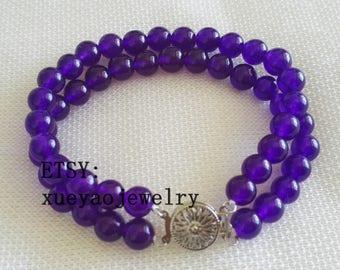 charm Bracelet, Amethyst beads bracelet, double rows 8 mm  Amethyst bracelet