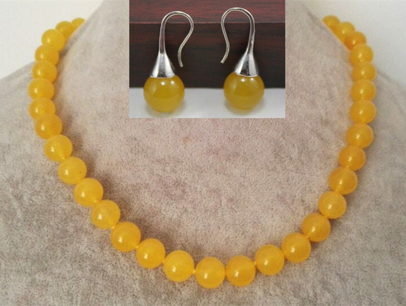 jade set 10 mm yellow jade necklace & earrings set image 0