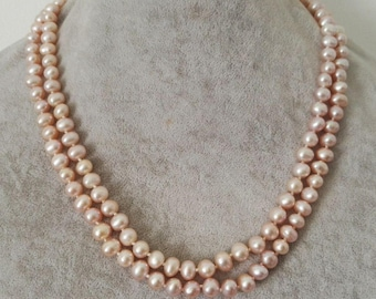 pearl necklace,double rows AA 6-7 mm lavender freshwater pearl necklace