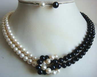 PEARL SET- double rows 17-18inch  7-8mm  white black pearl necklace earrings set