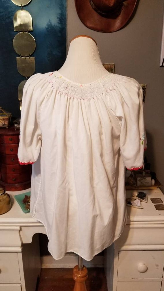 Vintage Hungarian Embroidered Floral Blouse, Free… - image 3