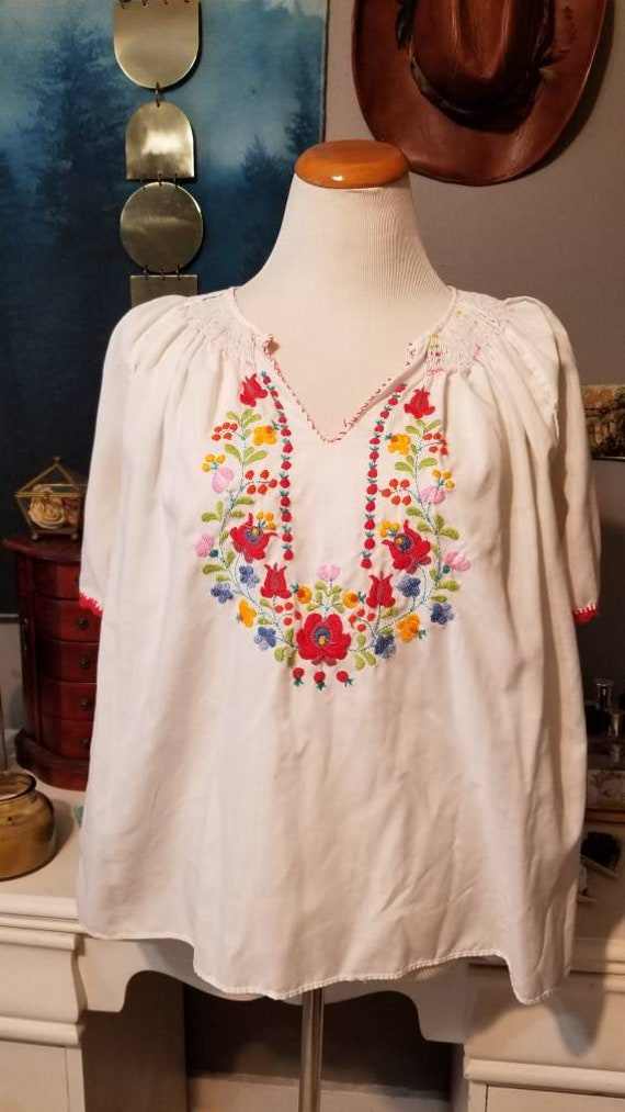 Vintage Hungarian Embroidered Floral Blouse, Free