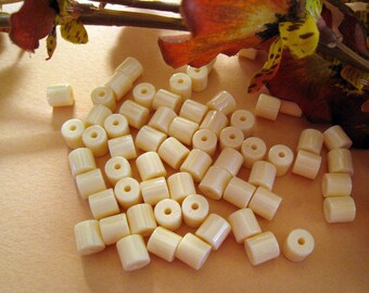 Ivory Cream Lucite Tubes - Small And Creamy - 6mm x 6mm - Lovely Color And Feel - Lot of 65