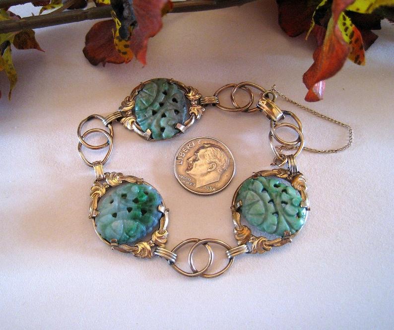 1950/'s 7 Inches Long Carved Jade Bracelet Cabochons Set  In A  Decorative Gold Filled Bracelet