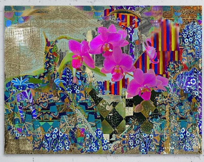 Featured listing image: Orchid Abstract - Mixed Media, Giclee, Floral Wall Decor, Wall Mural, Decal, Turkish, Islamic Art, Morocco, Arab, Desi, Boheme, S. Seema Z