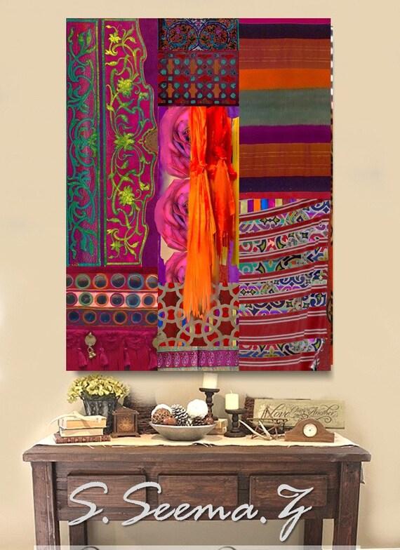 BOHEMIAN DECOR - Mixed Media, Large Art, Desi, Bohemian, Middle Eastern, Ethnic Canvas Art, Pakistani, Morocco, Dubai, Islamic