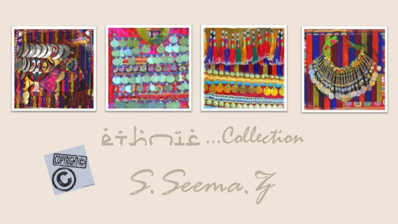BOHEMIAN JEWELRY-8x10 Set of 4 -Prints -African,Middle Eastern, Wall Art, Paper,Canvas Prints, Vibrant, Exotic,