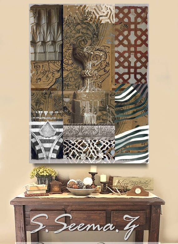 ARCHITECTURAL COLLAGES- 36x48, Mixed Media, Giclee, Ethnic Wall Art,Middle Eastern, Boho, Bohemian, Seema Z