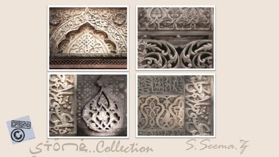 ARCHITCTURAL PRINTS-Set of 4 - 8x10 - Ethnic Wall Art, Arabic Style, White Stone, Exotic, Living Room Decor, Seema Z