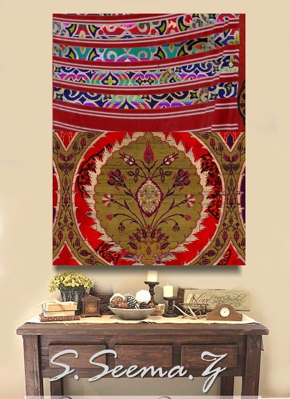 ETHNIC TAPESTRY -  Boho, Dubai Decor, Morocco, Decal, Middle Eastern, Home Decor, Red, Purple, Orange, Bohemian,Large Art,Decals