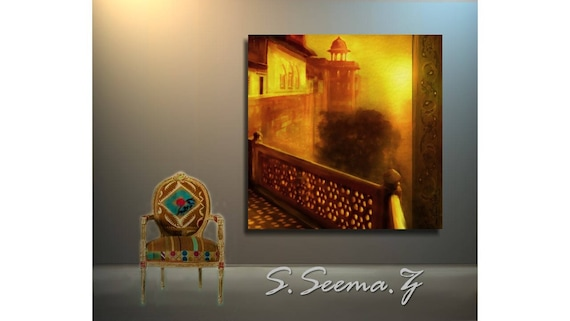 MUGHAL Lahore - Sunset, Mughal,Yellow,Bright, Architecture, Middle Eastern, Ethnic Wall Art, Boho, Seema Z