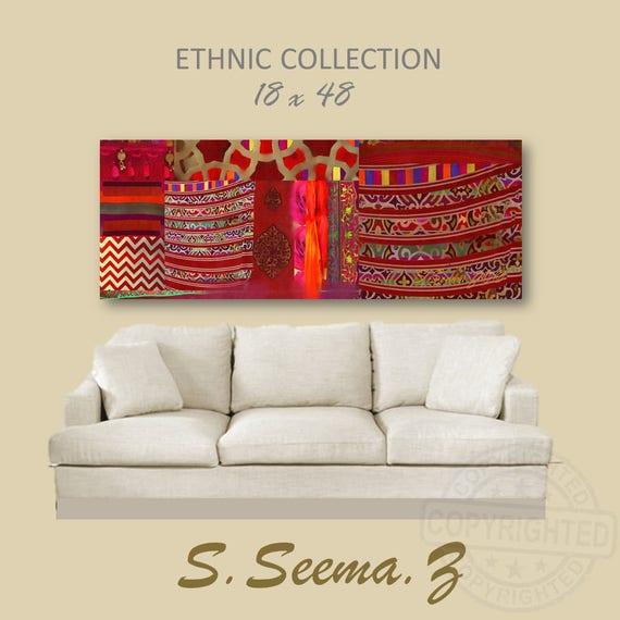 TAPESTRY BOHO STYLE- 48x18, Mixed Media,Canvas Large Print,Indo-Pak,  Ethnic Wall Art,Bohomeian, Exotic, Seema Z