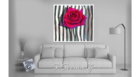 RED ROSE SINGLE Art Print, Striped, Black and White, Floral, Living Room, Dinning Room, Ethnic Home Decor
