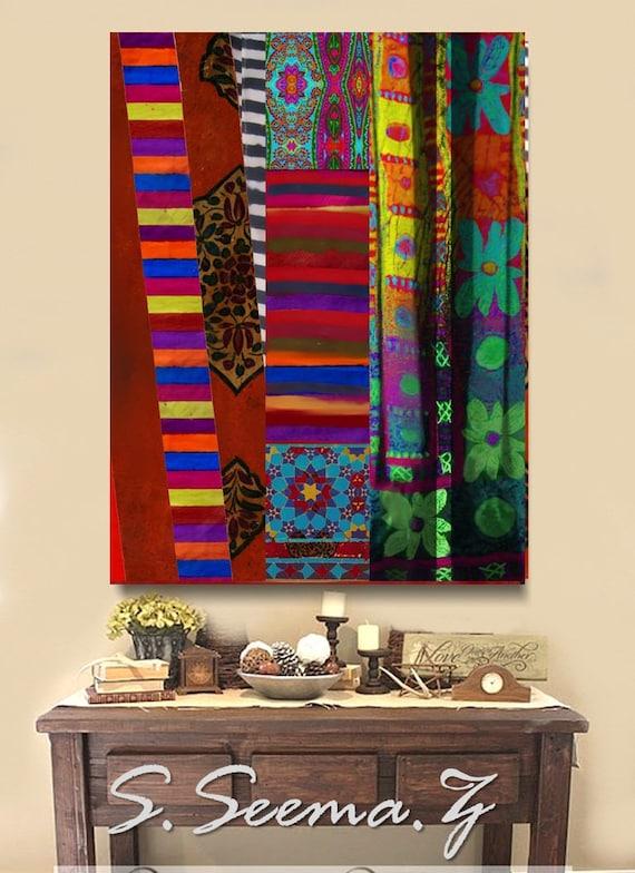 BOHEMIAN MUSES - Living Room Art, Middle Eastern, Dubai Decor, Bold, Red, Boho Style, Ethnic Wall Art, Vibrant, Multicolored