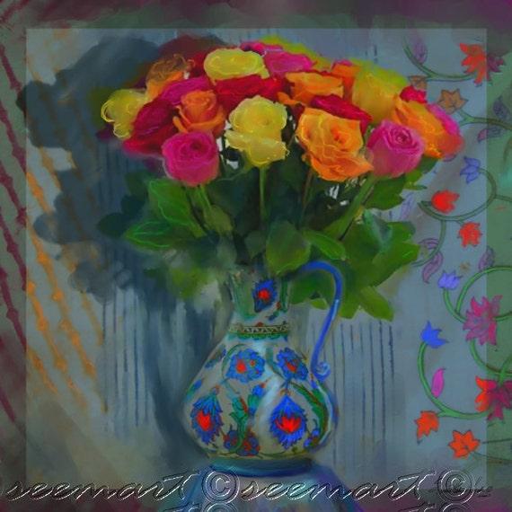IZNIK VASE- Living Room Art,Floral, Multicolored, Bouquet, Middle Eastern, Canvas Art, Seema Z