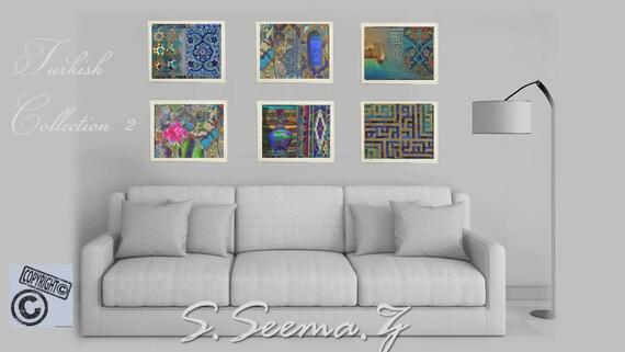 TURKISH ART PRINT-Set of 6-Print 8x10 -Middle Eastern,Turkey,Blue, Vase, Kufic Art, Islamic Wall Art, Home Decor,