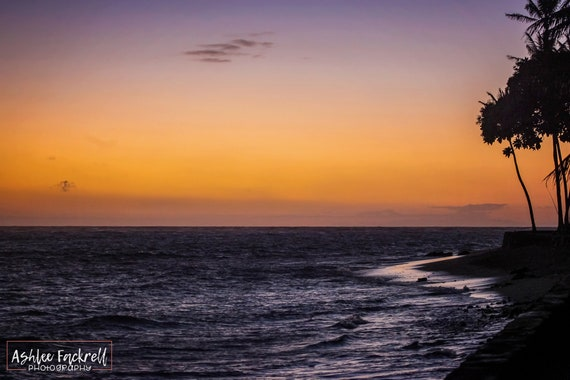 Sunset Oahu Hawaii Coast Hawaiian Landscape Honolulu Coast Etsy