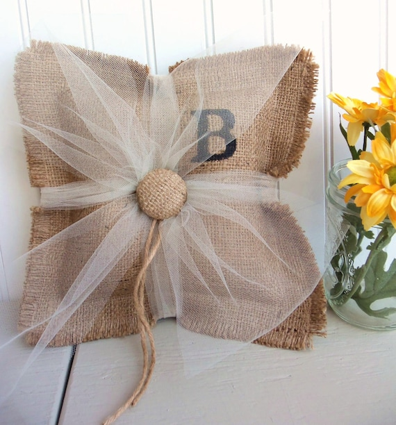 Monogram Wedding Ring Bearer Pillow: BURLAP Ring Bearer Pillow Custom Monogram Wedding Decor
