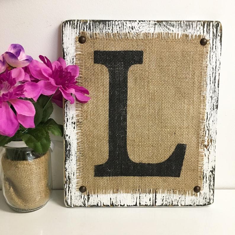 Custom letter signs Rustic Burlap Monogram Primitive sign | Etsy