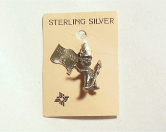 Vintage Sterling Silver Smokey The Bear Old Forge NY Souvenir Charm on Card USA