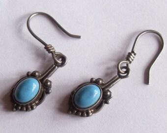 Vintage Sterling Silver Turquoise Southwestern Style Pierced Dangle Earrings